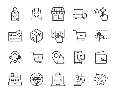 set of shopping online icons, ecommerce, shop, sale