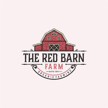 The red barn badge logo design inspiration for farm. Barn logo design. Vector Barn