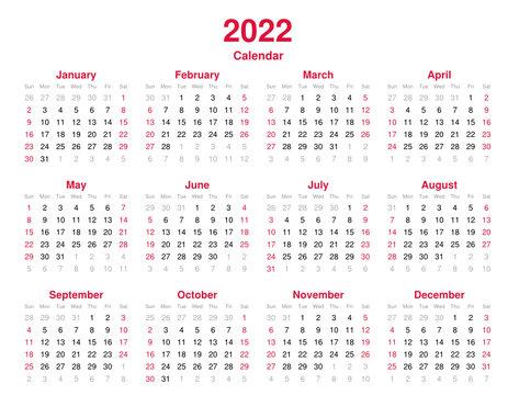 Calendar 2022 - 12 months yearly vector calendar in year 2022 - calendar template - planner calendar