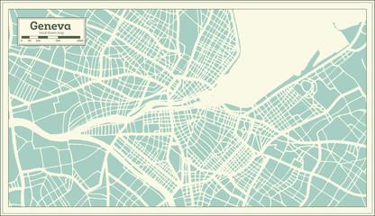 Geneva Switzerland City Map in Retro Style. Outline Map.