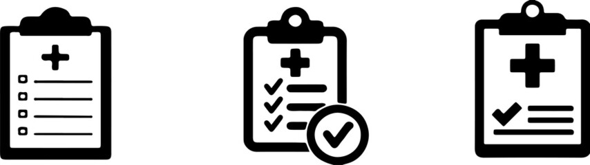 Medical clipboard icon on background