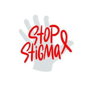 Stop stigma with Red Ribbon. World Aids Day concept. Modern vector Illustration