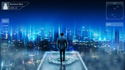 Business man on future network city Wall mural