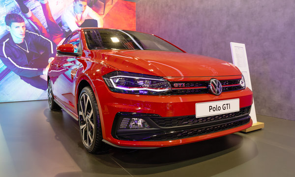 ATHENS, GREECE - NOVEMBER 15, 2019: Volkswagen Polo GTI at Aftokinisi Anytime 2019 Motor Show.