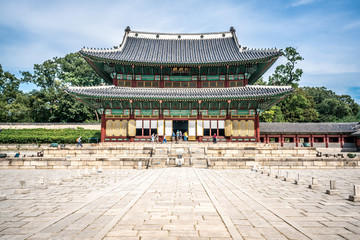 Changdeokgung Palace main hall front view in Seoul South Korea - translation: Injeongjeon hall