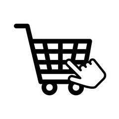 shopping cart commerce with hand pointer mouse