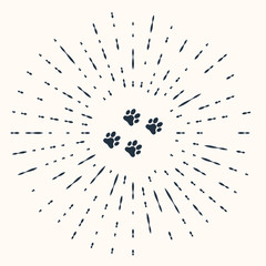 Grey Paw print icon isolated on beige background. Dog or cat paw print. Animal track. Abstract circle random dots. Vector Illustration