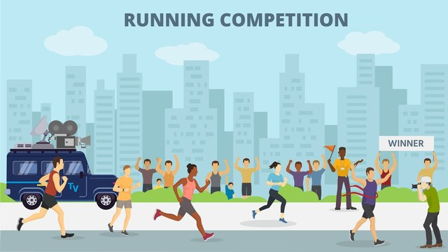 Running jogging marathons competitions race vector illustration. Sport runners group men and women in motion. Running man finishing first. City background.