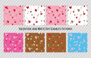 バレンタインとホワイトデー用の壁紙セット(ハート、シームレスパターン)