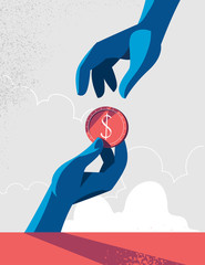 Human hand giving a coin to another hand. Vector illustration