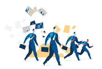 A group of business people ready to act. Vector illustration