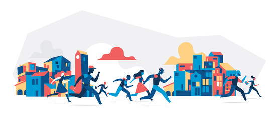 People running with city buildings background. Vector illustration isolated on white background