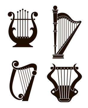 ancient harp and lyre icons collection isolated on white background