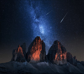 Tre Cime di Lavaredo and milky way at night, Dolomites