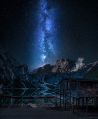 Wall Mural - Milky way over Lago di Braies at night, Dolomites