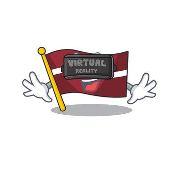 Cartoon flag latvia isolated in character virtual reality