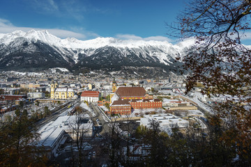 Aerial view of Innsbruck with Wilten Abbey and Alps mountains - Innsbruck, Tyrol, Austria