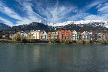 Colorful houses and Alps Mountains - Innsbruck, Tyrol, Austria