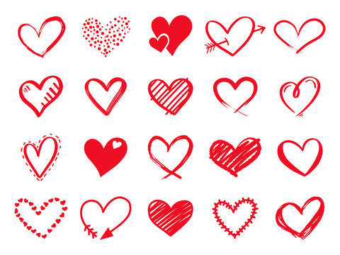 Hand drawn scribble hearts. Painted heart shaped elements for valentines day greeting card. Doodle red love hearts isolated vector icons set. Romantic sticker pack. Dotted and brush hearts