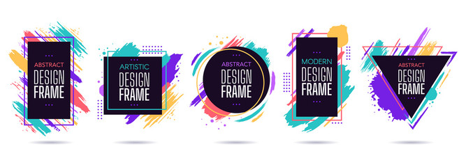 Stain frame with text elements. Grunge paint brush stroke frames, dynamic box for text, modern geometric frame design vector isolated set. Round, triangle, square and rectangular frames with splashes Wall mural
