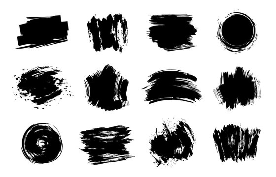 Graphic texture elements. Grunge stroke, artistic texture brush strokes, dirty line design element vector isolated set. Collection of black stains and smears. Gouache brushpaints on white background