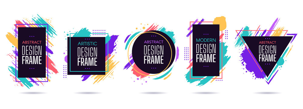 Stain frame with text elements. Grunge paint brush stroke frames, dynamic box for text, modern geometric frame design vector isolated set. Round, triangle, square and rectangular frames with splashes