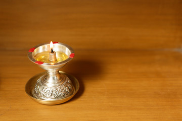 Fototapete - Indian Traditional Silver Oil Lamp