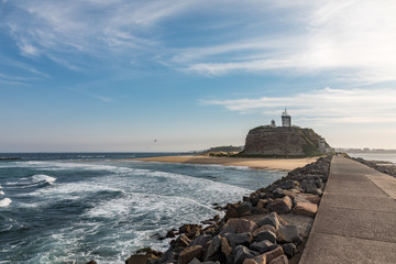 Nobbys head lighthouse and breakwater Newcastle New South Wales Australia