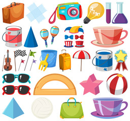 Set of isolated objects theme school items