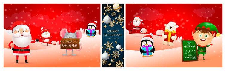Christmas collage of greeting card. Holiday concept