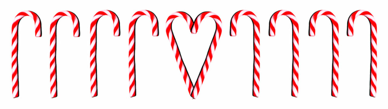 A lot of sweet candy canes isolated on white background - Christmas panorama banner long