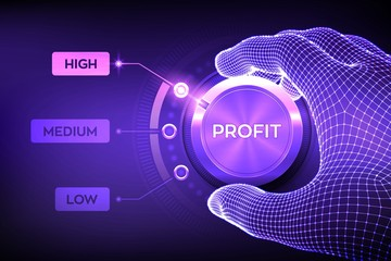 Profit levels knob button. Increasing Profit Level. Wireframe hand setting profit button on highest position. Finance concept illustration of profitability or return on investment. Vector illustration Wall mural