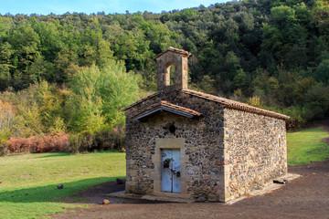 Hermitage in Santa Margarida volcano.Building concept