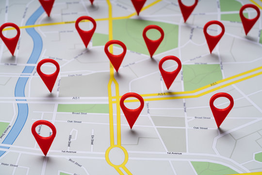 Road Map With Navigation Icons