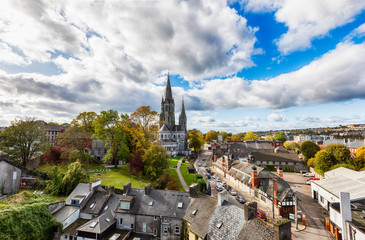 panorama of city Cork with  St. Fin Barre's Cathedral , Ireland