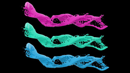 abstract isolated multi color liquid flow with bubbles - 3D Illustration