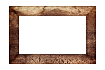 old wood frame classic isolated on white background.
