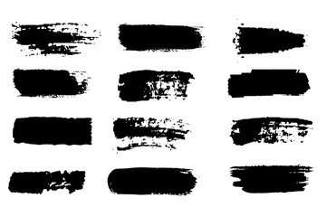 Custom blinds with artistic motives with your photo Collection of paint strokes vector. Grunge abstract hand painted element. Black and white strokes with a brush.