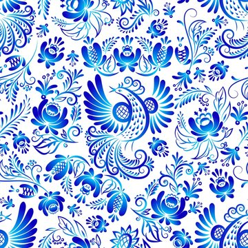Russian ornaments gzhel art seamless vector pattern, illustration of blue colored flowers and bird. Decorative russian fabulous gzhel blue flowers on a white background.