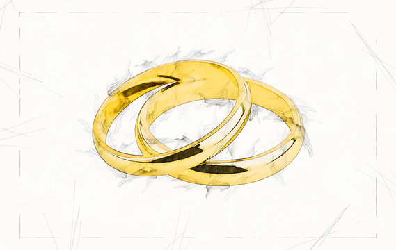 Illustration sketch of a pair of old wedding rings