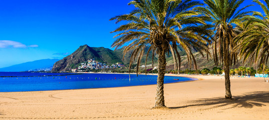 Poster Canarische Eilanden Beautiful beaches of Tenerife - Las Teresitas (near Santa Cruz). Canary islands