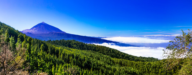 Photo sur Aluminium Bleu fonce View of famous volcano Teide. Tenerife. Canary islands of Spain