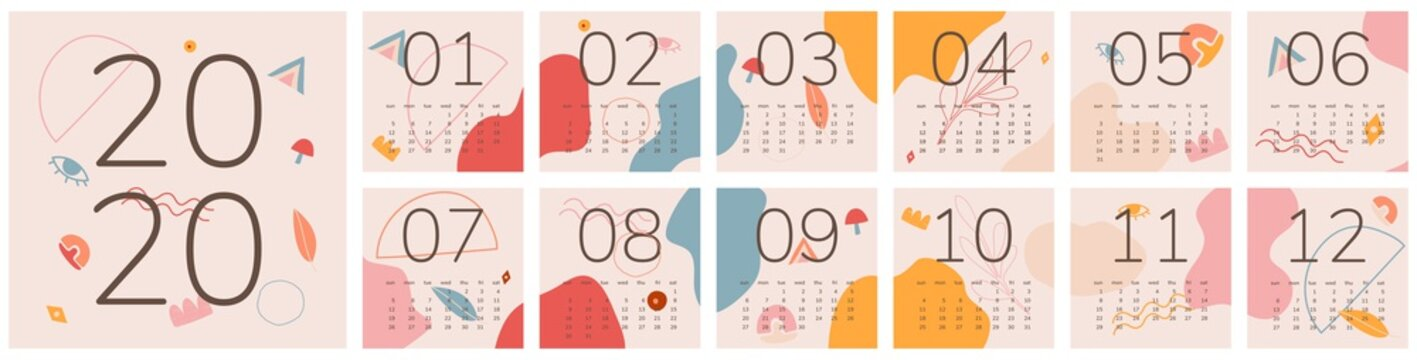 2020 Calendar. Hand drawn various shapes and doodle objects. Abstract vector illustration. Eps 10.