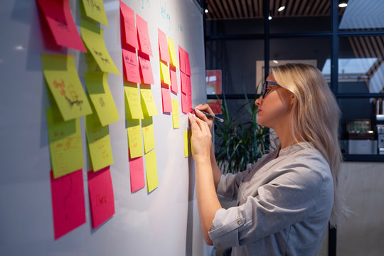Project management, product development methodologies. A young woman makes notes