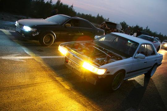 Night street drag racing