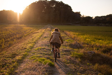 夕暮れに自転車に乗る女の子