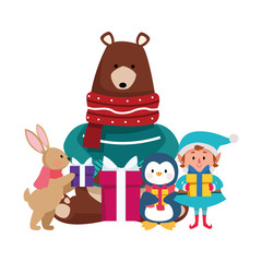 Foto op Textielframe Beren christmas grizzly bear with animals and elf with gift boxes