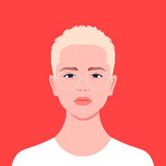 Portrait of a short-haired girl. Androgin. Diversity. Avatar for a social network. Student. Vector flat illustration