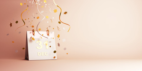 Happy New Year eve design creative concept, December 31 calendar and gold silver glittering confetti on gradient background. Copy space text area, 3D rendering illustration.