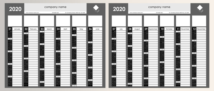 Planner calendar for 2020. Wall organizer, yearly planner template. Vector illustration. Vertical months. One page. Set of 12 months. Black and white.